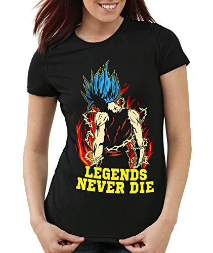 Legends Never Die - Goku Blue God Modus T-Shirt Femme, Couleur:Noir;Taille:XS