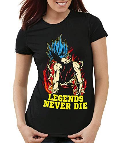 Legends Never Die - Goku Blue God Modus T-Shirt Femme, Couleur:Noir;Taille:XS