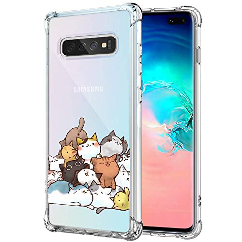 KIOMY Case for Samsung Galaxy S10 for Girls Boys Women Clear with Cute Cat Design Shockproof Bumper Protective Lovely Cell Phone Back Cover Flexible Slim Fit Soft Rubber Skin for Samsung Galaxy S10