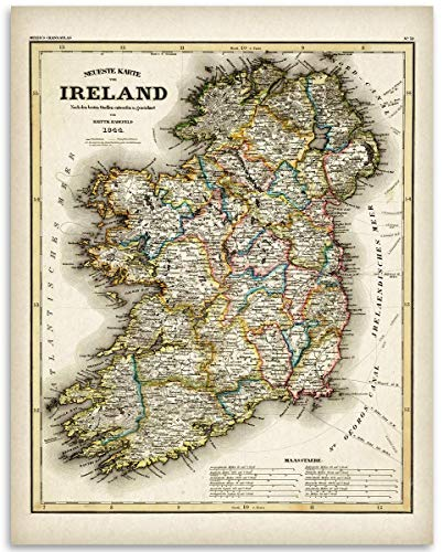 1844 Ireland Map - 11x14 Unframed Art Print Poster - Great Vintage Irish Home Decor Under $15