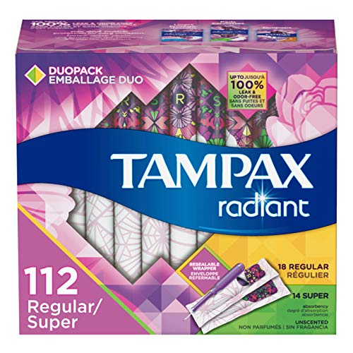 Tampax Radiant Plastic Tampons Regular/Super Absorbency Duopack 112 Count Unscented 28 Count Pack of 4  112 Count Total