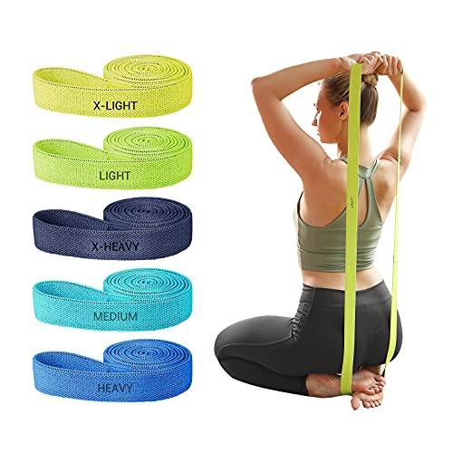 YUNMAI Bandas Elasticas Fitness[Set de 5], Largo Yoga Cintas Elasticas Musculacion Látex Natural Bandas De Resistencia Gomas Elasticas Fitness Pilates Crossfit Fuerza Gym Piernas Glúteos Brazos
