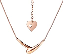 Handshake Embrace Pendant Rose Gold Plated Necklace Adjustable Titanium Stainless Steel Clavicle Chain Choker Necklace for Womens Girls