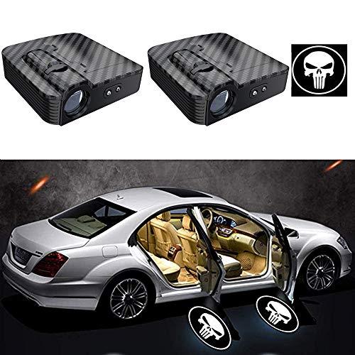 LEIWOOR 2PCS in Fibra di Carbonio Universale Wireless Auto Universale proiezione LED proiettore Porta Logo Benvenuto luci di cortesia Kit sensore