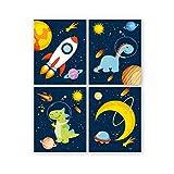 Poster Spaziali,Quadri per Camera Bambini,Poster e Stampe Dinosauro Astronauta,Animali Raz...