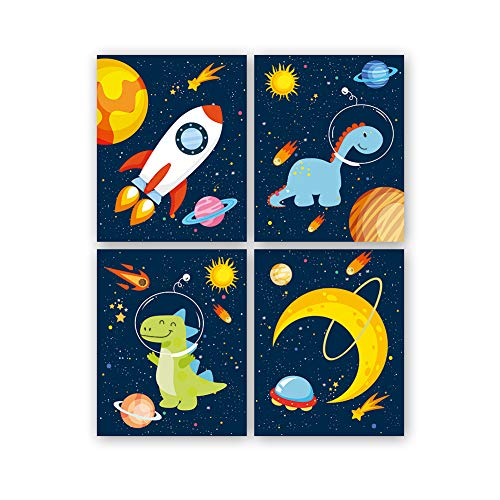 Juego de 4 Cuadros 8x10 Inch Infantiles Niño Espacio Pósteres, Dinosaurio/Cohete/Planeta Láminas Impresión en Lienzo, Decoración Habitación Bebé pared Regalo Sin Marco