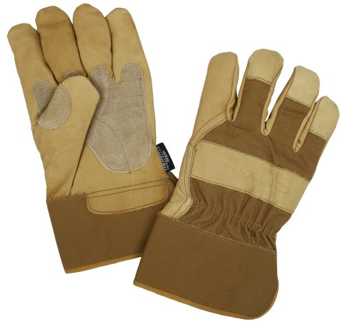 Carhartt Men's Insulated Grain Leather Work Glove with Safety Cuff, Brown, Large