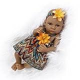 Nicery Indien Style Peau Noire Vinyle Silicone Simulation dur 10inch 26cm étanche Jouet orange Fille Reborn Bébé Bain Poupée avec les yeux acryliques Baby Doll Cadeau de Noël