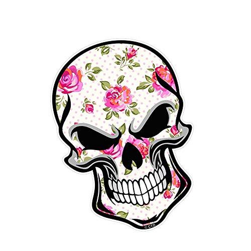 12 cm x 8,3 cm GOTHIC BIKER SKULL mit cremefarbenen Blumen Shabby Chic Motiv Externe Aufkleber Autoaufkleber Auto Styling wandaufkleber 3d Wandtattoo Kinderzimmer