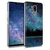 kwmobile Cover compatibile con LG G7 ThinQ/Fit/One - Back Case Custodia in silicone TPU trasparente Acqua e luna blu/nero