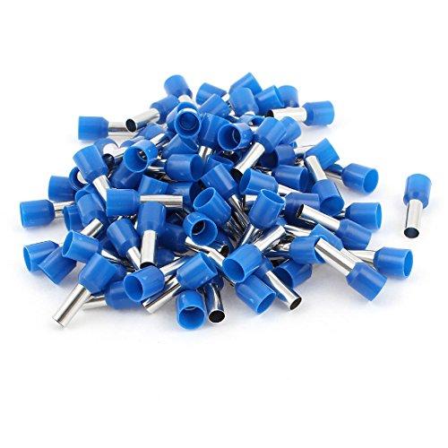 Sourcingmap® 100 pcs Conector Azul de Punteras Huecas Aislantes 10mm2 Cable crimpado terminales