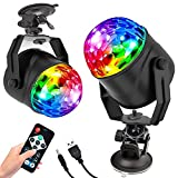 Disco Party Lights Activated LED Strobe Light 7 Color with Remote Control and USB Plug in Stage Light for Car Home Room Dance Parties Birthday DJ Bar Karaoke Xmas Wedding Show Club Pub [2-Pack]