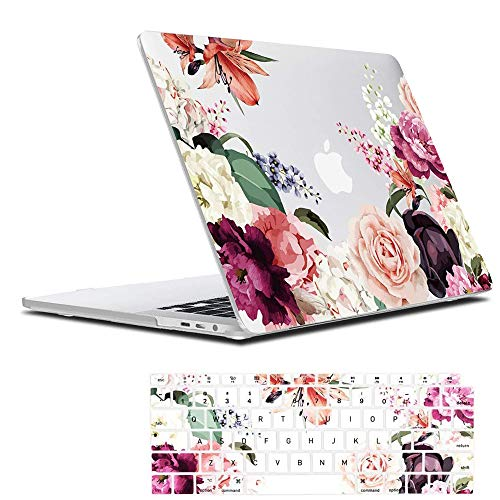 Lapac MacBook Air 13 inch Clear Case A2337 M1 A2179 A1932 2020 2019 2018, Rose Flower New Mac Air 13 Cover with Design,Soft Hard Shell Case Retina Display Fits Touch ID with Keyboard Cover,Pink Floral
