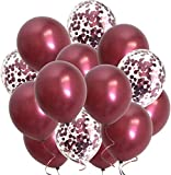 Burgundy Maroon Confetti Balloons-Wine Color Metallic Balloons for Wedding Anniversary Bridal Shower Women Birthday Valentines' Day Graduation Party Decorations 12inch 100packs