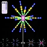 Solar Firework Lights Decorative Starburst String Lights Outdoor 112 LED Copper Wire Star Lights Waterproof Fairy String Lights for Patio Lawn Walkway Christmas (Multi-Colored, 1 Pack)