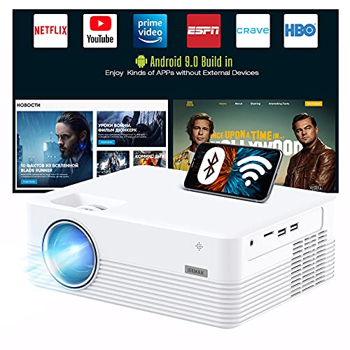 Smart Projector, JEEMAK Android WiFi Bluetooth Projector FHD 1080P Supported, Video projector for iPhone, 5000 Lux Mini Portable Projector for Home & Outdoor Theatre with Netflix YouTube