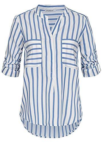 Seventyseven Lifestyle Damen Shirt Turn-Up Bluse Streifen Muster Top 2 Brusttaschen blau Weiss, Gr:L
