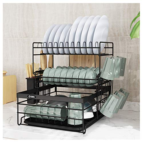 Dish Drainers with Water Tray, Carbon Steel 3 Tier Dish Drying Rack with Cup, Cutting Boards,Utensil Holder Dish Drainer for Kitchen Counter(Black)
