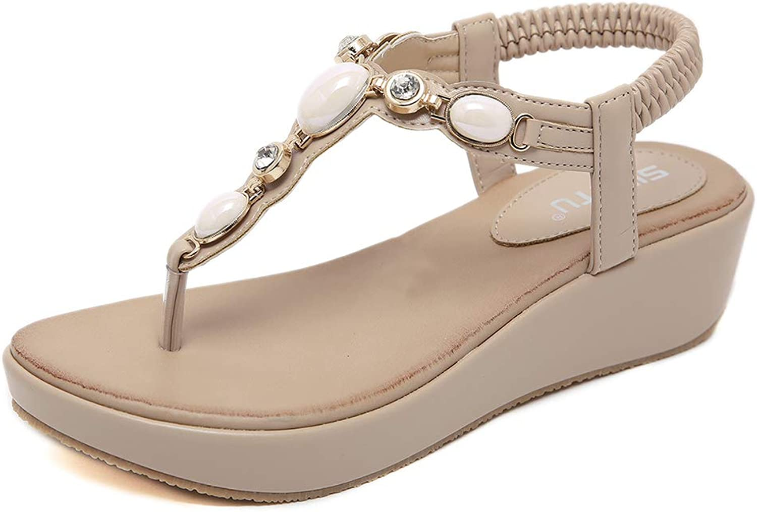 Tuoup Women's Leather Stylish Jeweled Bling Beaded Thong Beach Sandals