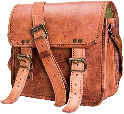 Urban Leather Shoulder Messenger Bags for Men and Women – Small Crossbody Handbag Side Bag - Ladies Beach Purse - Boys and Girls – Vintage Satchel Bags (Brown, 23 cms)