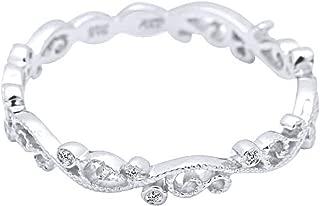 AFFY White Natural Diamond Full Eternity Milgrain Wedding Band Ring in 10K Solid Gold (0.04 Ct)