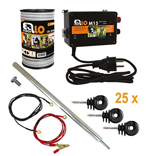 Ellofence Hobby Weidezaun Starterset komplett mit Weidezaungerät, 12,5mm Weidezaunband, Erdpfahl und Isolatoren - Extrem leises Gerät ! 230V