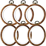 Caydo 6 Pieces 4 Inch Christmas Round and Oval Embroidery Hoop Display Frame Circle for Art Craft Sewing and Ornaments