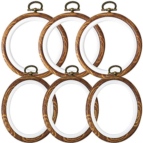 Caydo 6 Pieces 4 Inch Round and Oval Embroidery Hoop Display Frame Circle for Art Craft Sewing and Ornaments