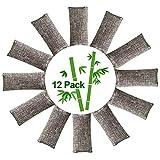 12 Packs Natural Air Purifying Bags,150g Each Pair Mini Bamboo Charcoal Bags,Shoe Deodorizer and Odor...
