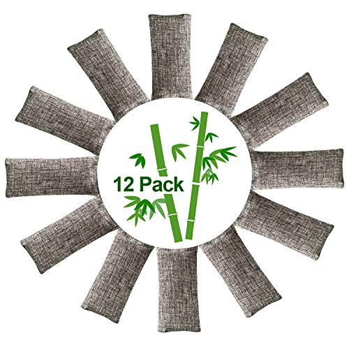 Purchase 12 Packs Natural Air Purifying Bags,150g Each Pair Mini Bamboo Charcoal Bags,Shoe Deodorize...