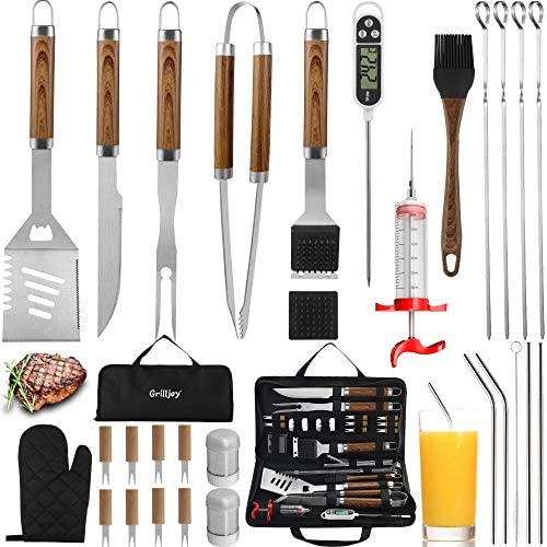 grilljoy 30PCS BBQ Grill Tools Set with Thermometer and Meat Injector Extra Thick Stainless product image
