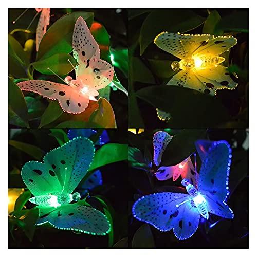 Guirnalda solar Luz 12 LED Multicolor Fibra óptica Mariposa Decoración Luz Fairy Light Batería Decoración de jardín
