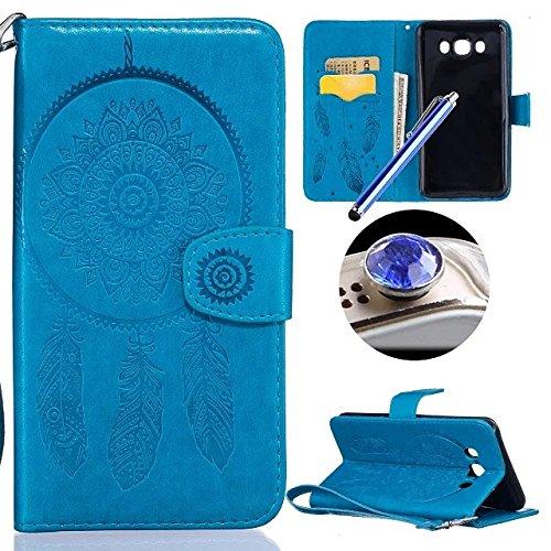 Samsung Galaxy J7(2016) Fleur Coque,Samsung Galaxy J7(2016) Housse en cuir, Etsue Retro Cloche à Vent Fleur Motif Portefeuille en cuir Flip Couverture de case avec Lanière et Carte de Visite Dossier Fonction pour Samsung Galaxy J7(2016) + Cadeaux Gratuit 1 x Cordon + 1 x Bleu stylet + 1 x Bling poussière plug (couleurs aléatoires)-Cloche à Vent Bleu