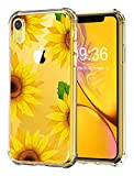 RicHyun iPhone XR Sunflower Case, Clear Floral Pattern Soft Flexible TPU Reinforced Bumper Protective Case for iPhone XR 6.1 inch 2018