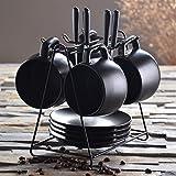 mugcap la taza de café Set minimalista Europea hogar con la cuchara taza de cerámica personalizada–Juego de oficina suite, 4tazas de café y 4-Disc 4cuchara distribución marco
