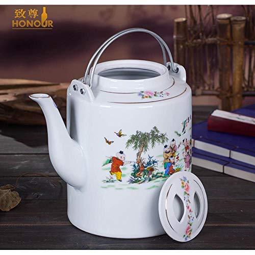 Tetera de cerámica, tetera grande, jarra, viga de elevación, olla individual, tetera vieja, 3 litros, 4.6 litros