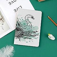 新しい ipad pro 11 2018 ケース スリムフィット シンプル 高級品質 手帳型 柔らかな内側 スタンド機能 保護ケース オートスリープ 傷つけ手のスケッチ白鳥鳥花の詳細と色はね水彩画