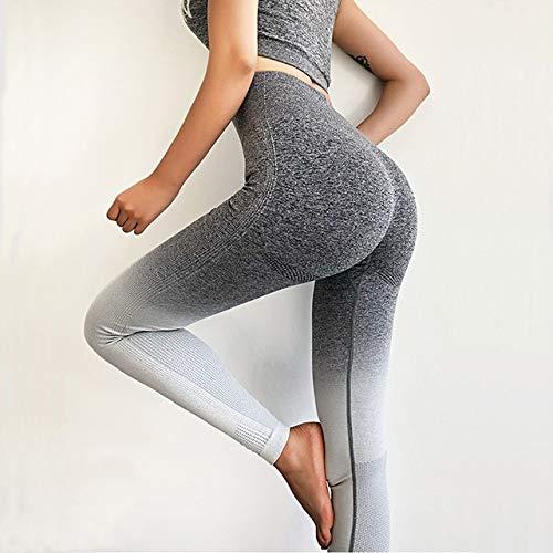 Mdsfe yogabroek zonder naad, voor dames, hoge taille, push-up tights, sportlegging en fitness, vrouwen, stretch, hardloopbroek XL Gray-a392