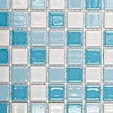 Piastrelle a mosaico in ceramica blu bianco lucido per pareti, bagno, doccia, cucina, specchio per piastrelle, rivestimento per vasca da bagno, tappetino a mosaico