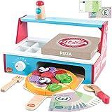 bee SMART Pizza de Madera y Accesorios, Juego de Pizza con Horno de Pizzas, Corta Pizza, espátula y Caja de Pizza, Dinero de Juego para niños, 30 Piezas+