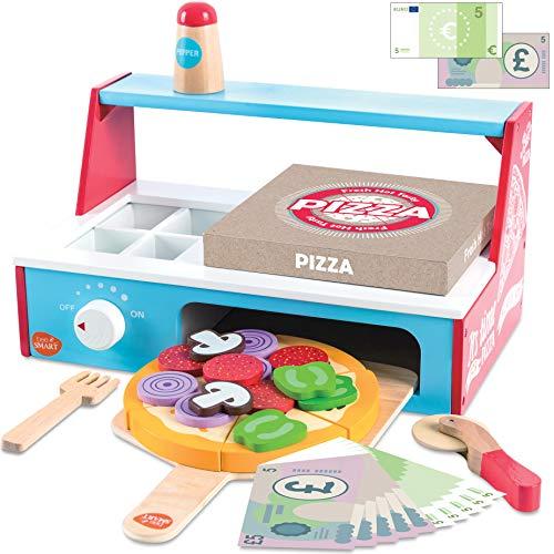 bee SMART Kinder Pizza aus Holz und Zubehör, 30+ teiliges Set mit Schneidepizza mit Schneideroller, Ofen