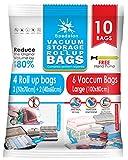 Vacuum Storage Bags - Pack of 10 (6 Jumbo (100x80) + 4 Travel