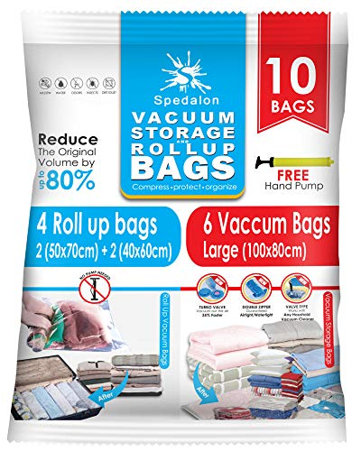 Vacuum Storage Bags - Pack of 10 (6 Jumbo (100x80) + 4 Travel Roll-Up) | Save Space with our Reusable Sealer Bag for Home and Packing of Clothes, Duvets, Blankets, Coats | Comes with free Hand Pump