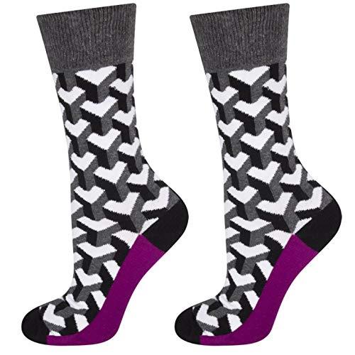 soxo Herren Bunt Gemusterte Socken | Premium Baumwolle Socken | Modische Muster - Punkte, Herzen & Mehr