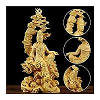 中国の彫刻工芸品Kwan-Yin Guanyin Buddha Statue菩薩彫刻クラフト木材家の家のリビングルームの装飾