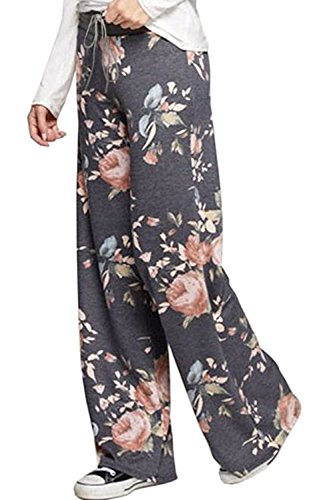 NEWCOSPLAY Women's Comfy Pajama Pants Floral Print Drawstring Palazzo Lounge Wide Leg Pants (XL, xz6082-dark Grey)