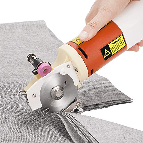 CGOLDENWALL YJ-65 Electric Rotary Fabric Cutter Cloth Cutting Machine Electric Rotary Scissors for 0.8 inch Multi-Layer Cloth Fabric Leather Wool with Spare Blade