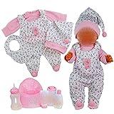 Kindabox Ropa de muñeca de 9 piezas para muñecas de hasta 43 cm (sin muñeca).