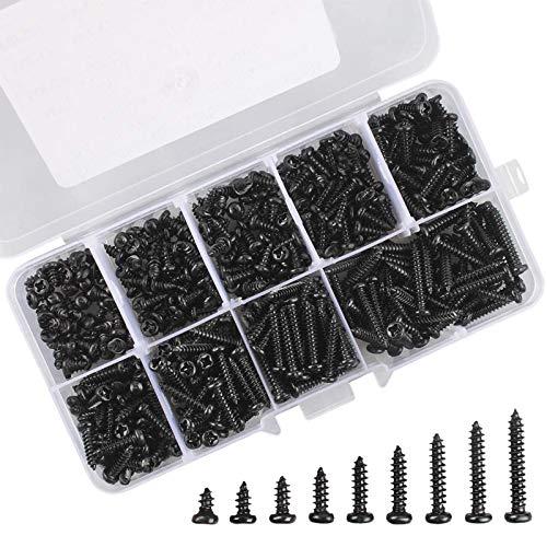 Micro Tornillos de cabeza Phillips M3 Kit de mini tornillos de madera electrónicos autorroscantes de cabeza redonda con caja de compartimiento, paquete de 450 (negro)