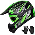ILM Youth Kids ATV Motocross Dirt Bike Motorcycle BMX Downhill Off-Road MTB Mountain Bike Helmet DOT Approved (Youth-L, Green/Silver)